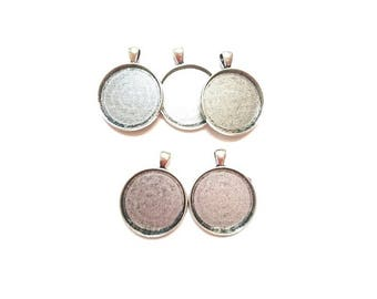 5 pendants in antique silver (suitable for Cabochon 30mm Dia.)
