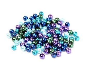 50 Pearl 6 mm multi-colored beads
