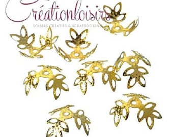 30 accessory beads bead caps, 3 petals gold plated 14 mm nickel free