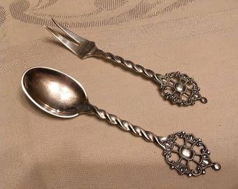 Vintage Norway Kings Cross Relish Fork Demitasse Spoon Collectors Spoons
