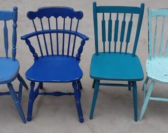 Coastal Blue Custom Painted Mismatched Chairs