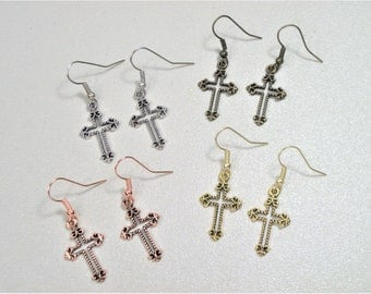 Cross Earrings, CHOICE, Silver Cross Earrings, Gold Cross Earrings, Bronze Cross Earrings, Copper Cross Earrings, Small Cross Earrings