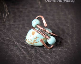 Hammered Cooper Turquoise Bead Ring