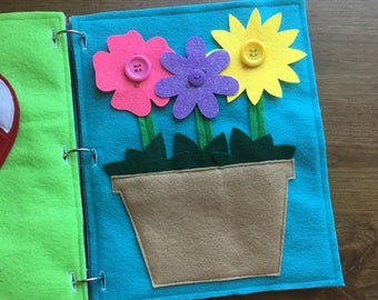 Button Flower Quiet Book Page, Toddler Quiet Book Pages, Childrens Busy Book, Felt Activities, Early Learning Travel, Kids Gifts, Buttons