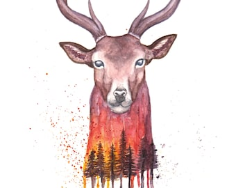 Watercolor painting Deer & Forest