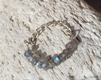 Labradorite ring; Gemstone ring; Silver ring; Chain ring; Stackable ring; Midi ring