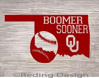 Boomer Sooner Oklahoma State ou baseball SVG DXF Digital Cut File