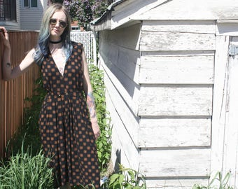 90s Black Patterned Maxi Pinafore