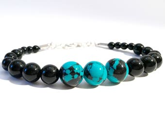 Onyx Turquoise~ Handmade Beaded Bracelet~ Genuine Black Onyx~ Sterling Silver Clasp~ Adjustable~ For Men and Women~ Unisex Jewelry