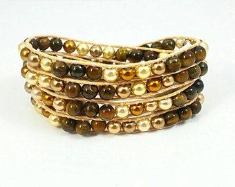 Brown Eyed Girl~Handmade Wrap Bracelet~4 Wrap Bracelet~Waxed Lined Cord~Pearl Bracelet~Wrap Beaded Bracelet~Necklace & Bracelet~Gift for Her