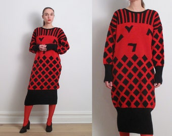 80s Red Black Abstract Sweater Dress / M