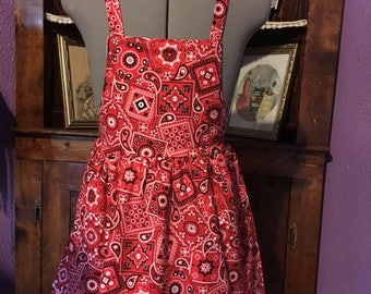 Red and Black Western Girls Apron size 7-8