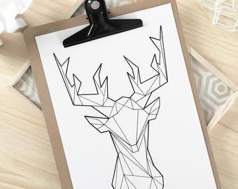 Artprint deer Scandinavian origami 20 x 30