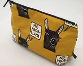 Zipper pouch | cosmetics bag | project bag |  printed design | pencil case |  rubber stamp | llama | fun quote | no probllama | animal