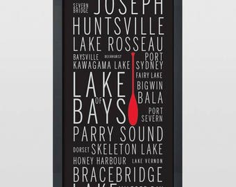 Muskoka Place Names Typography Art Print