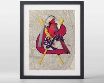 St. Louis Cardinals-inspired Baseball Art Print