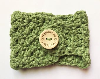 Handmade Crochet Mug Cozy With Wooden Button, Cup Cozy, Coffee Cozy, Tea Cozy, Reusable Perfect Christmas Gift Cute Green