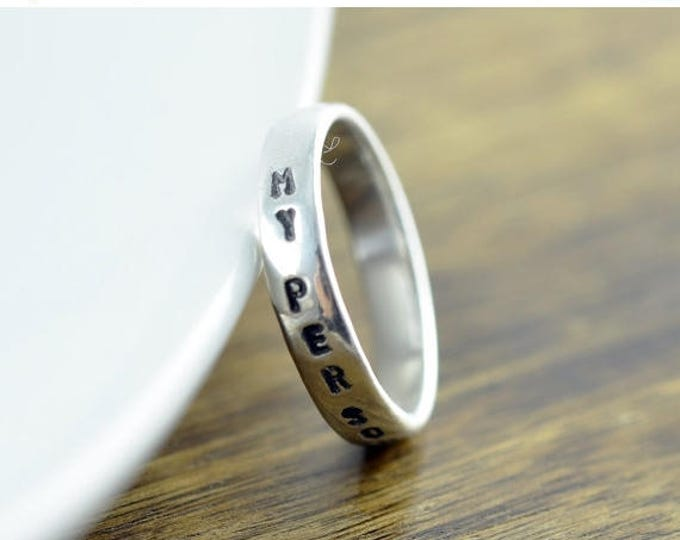 10% off SALE Personalized - You Are My Person Rings -Sterling Silver Ring, You Are My Person, Hand Stamped Ring, Personalized Ring, Personal
