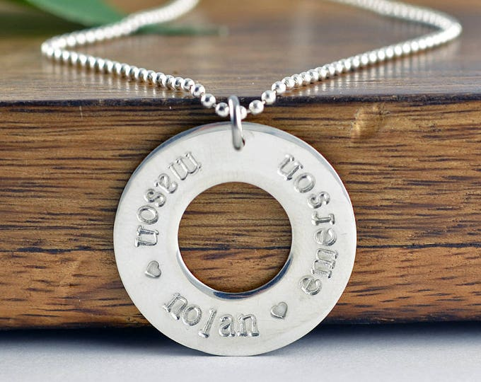 Hand Stamped Washer Necklace, Mother Necklace, Silver Necklace, Name Necklace, Mommy Necklace, Custom Necklace,Gift Idea,Necklace for Mom