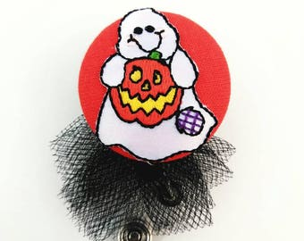 Orange ghost Halloween applique fabric covered badge reel ID holder with tutu