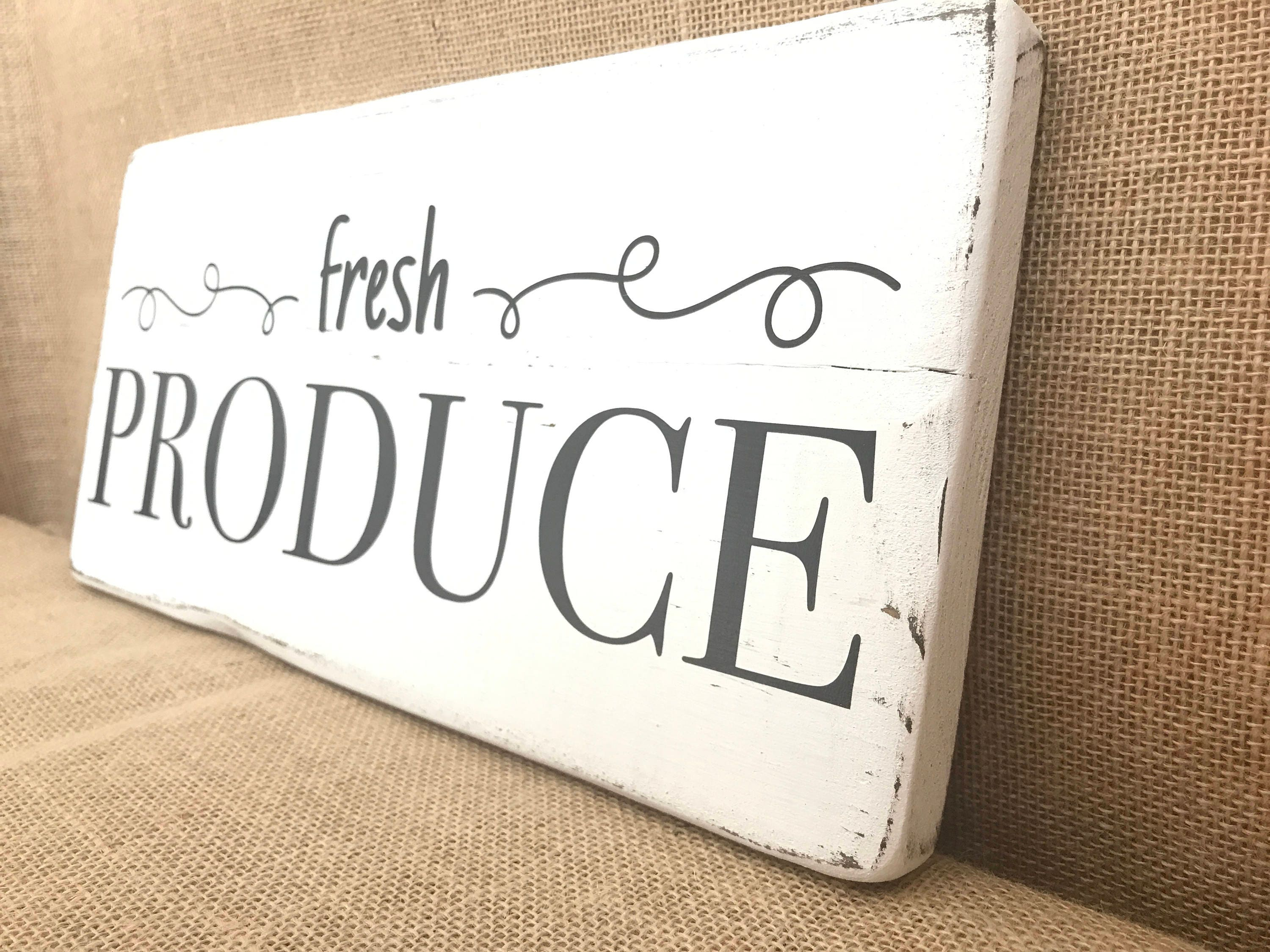 Fresh Produce Sign, Kitchen Sign, Kitchen Decor Sign, Farmhouse Style Signs,  French