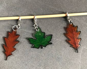 Set of 3 leaf Stitch markers /row counters / progress keepers.