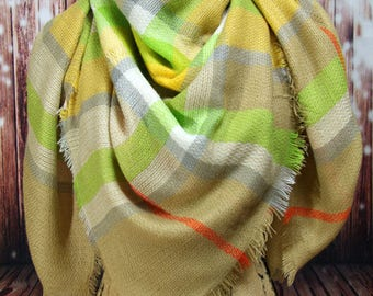 WINTER MARKDOWN Taupe and Green Blanket Scarf, Tartan Scarf, Plaid Scarf, Oversided, Wrap, Shawl