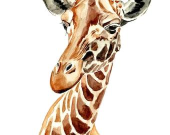 Baby room Animal wall art giraffe watercolor wall art print african animal watercolor painting illustration nursery art children room decor