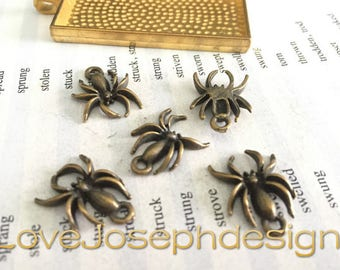 wholesale 100 Pieces /Lot Antique Bronze Plated 14mmx15mm spider charms