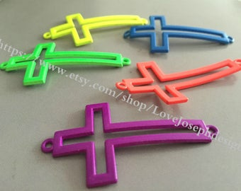 20 Pieces /Lot assorted colors 54mmx28mm cross connector charms (#002)