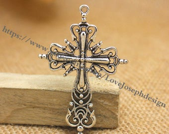 wholesale 50 Pieces /Lot Antique Silver Plated 42mmx63mm Filigree cross pendant charms (#0526)