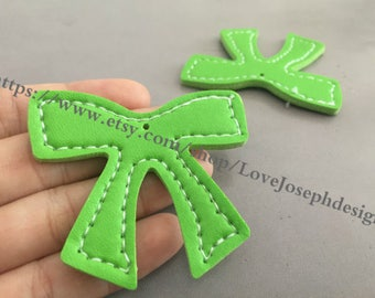 15 Pieces /Lot green 55mmx46mm fuax leather earring bowknot charms (#0545)