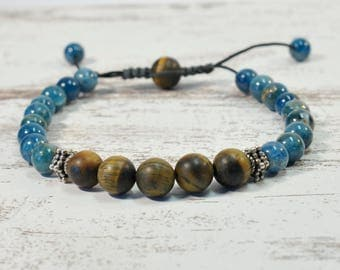 Urban Men's Apatite & Tiger Eye Pull Tie Single Bracelet. Boho Jewelry. Bohemian Jewelry. Ideas for him. Gift for him.