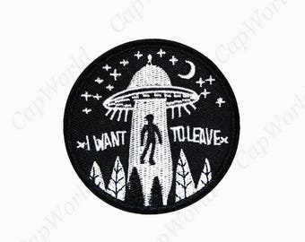 Alien  Patches - Embroidery Alien Applique Iron On Patch