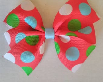 Blue polka dot hair bow, girly hair bow, winter hair bow, baby headband,  polka dot hair bow,  red green blue and white hair bow clip