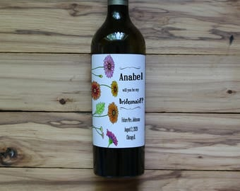 Will You Be My Bridesmaid Wine Label /  Wine For Bridesmaids / Maid of Honor Wine Label / Custom Wine Label / Asking Bridesmaids