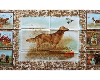 Fabric cotton pillows hunting dog painting