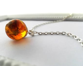 noble amber necklace 45 cm Ø 12 mm amber necklace Pendant (0084/S45)