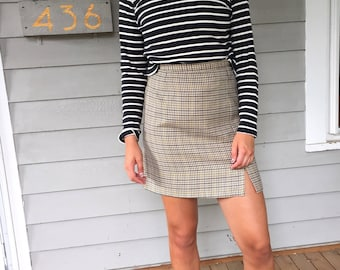 Vintage 80s Houndstooth High Waisted Tweed Pencil Skirt | W27 4
