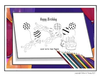 3 Printable Colorings Page in a Greeting Card Format. Frogs Birthday Card. 2 FREE Cards with Purchase. U Color or Gift to Person Who Colors.