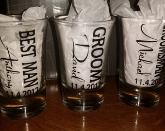 Groomsmen shot glasses, wedding party favors, best man gift, groomsmen gift, bachelor party favors, personalized shot glasses, shot glasses