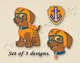 SALE! SET, Paw Patrol Zuma applique embroidery design, Paw Patrol Machine Embroidery Designs, Embroidery designs for baby, 3 designs #027