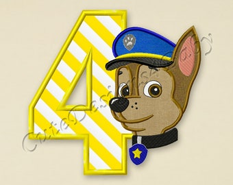 Paw Patrol Chase Number 4 applique embroidery design, Paw Patrol Machine Embroidery Designs, Embroidery designs baby, Instant download #033