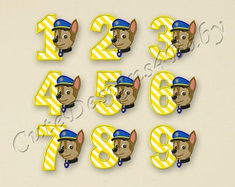 SALE! SET Paw Patrol Chase Numbers applique embroidery design, Paw Patrol Embroidery Designs, Embroidery designs baby, Instant download #039
