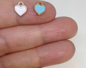10pcs Enamel Heart Charm, Charm for Bracelet, Charm for necklace, Wholesale Charms