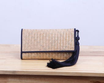 Wicker Clutch Bag With Tassel, Woven bag, Thai handcraft by artisan, Gift for Her, Vintage