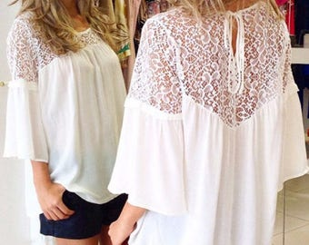 Summer Style Women Blusas Chiffon Patchwork Lace
