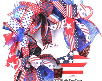 Patriotic Deco Mesh Wreath,Patriotic Grapevine Wreath,Independence Day Wreath,4th of July Deco Mesh Wreath,4th of July Grapevine Wreath