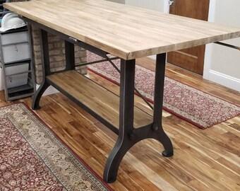 Custom Made Industrial Tilt Top Drafting Desk