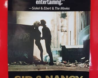 SALE Vintage 80s Sid And Nancy Movie Poster / Vintage Sid Vicious & Nancy Spungen Movie Advert Pop Culture Collectible Movie Poster
